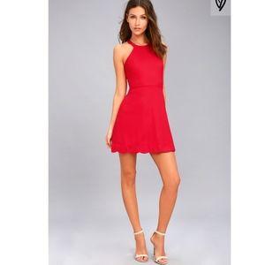 Mamacita Red Cherry Halter Skater Dress
